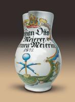 """Birnkrug: Namensbeischrift: """"Christian Otto Meierer -- Salomea Meierin"""" und """"1801""""."""
